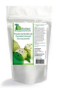 Acheter de la poudre de feuille de graviola corossol sur la boutique Biologiquement.com